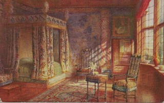 Lady Betty Germain's bedroom in the late 1800s | Painting by Charles Essenhigh-Corke (copyright-free)
