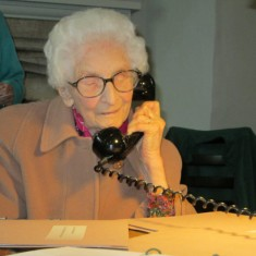 Kay visiting the Oral History exhibition in the Estate Office in 2012