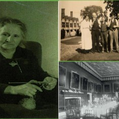 Kay's mother, Mary Ann Crane: (L) in retirement; (R, top) with other Knole staff (R, bottom) formal entertaining in the Great Hall at Knole in the 1900s