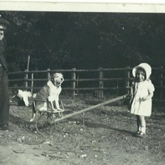 Margaret Beavin in 1935 with her grandfather William, taking her dog for a drive