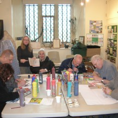 Some of the Mind art group, with Gill Whiting (standing), in Knole's education room in 2010
