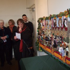 Textile designer Janet Crowther at the presentation of the completed work to Knole