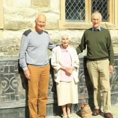 Kay Stratford, 100, flanked by her sons Paul (left) and Ian (right), on a visit to Knole in the summer of 2014
