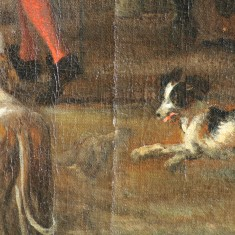 Sophie's treatment also revealed a pentimento showing the artist changed his mind about the position of one of the dogs