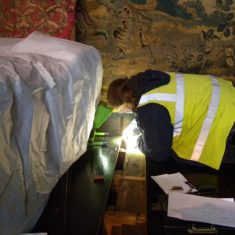 James Wright recording finds in Knole's Spangled Bedroom during Inspired by Knole Project
