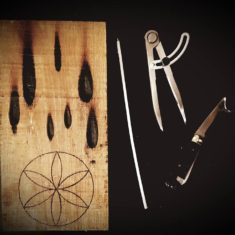 Rase knife (bottom right), a carpenter's tool used to make ritual protection marks