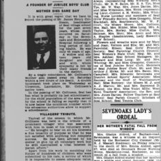 1937 Sevenoaks Chronicle recording the funeral of Eileen's Seal School headmaster