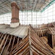 Knole's roofs during conservation work