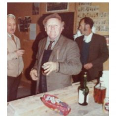 Clerk of works, Fred Piercy (left) joins workman Bob Wyles (centre) and Stan Blundell (right) at their Christmas gathering | courtesy of Alan Grubb