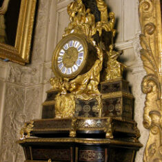 Before conservation, the late Louis XIV Boulle pendule, listed as c.1710, on a later stand, c.1770.  | NT/Jane Mucklow